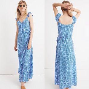 MADEWELL Ruffled Wrap Maxi Dress in Mini Daisy Size 10